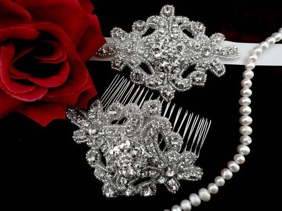 Headband , Bridal Headpiece , Bridal Hair Accessories , Wedding Headband , Bridal Headband Swarovski Rhinestone Crystal