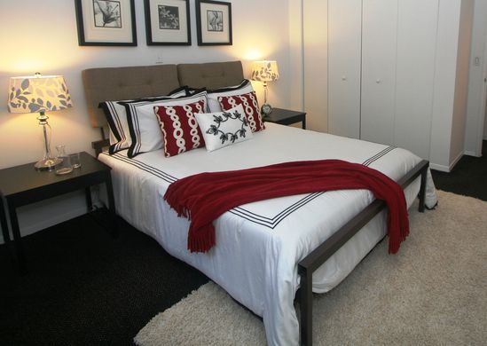black and white with red accents, bedroom, staged to sell, home decor