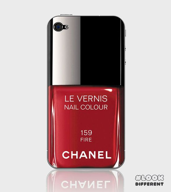 iPhone 5 or iPhone 4 / 4S Chanel Nail Polish Red iPhone Skin Decal Sticker Cover