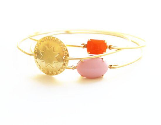 Bazaar Brass Bangle Set Stackable Bracelet by SweetAuburnStudio, $31.00