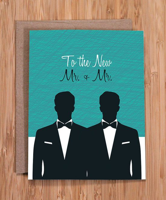 gay wedding card / mr and mr by ModernPrintedMatter on Etsy, $3.50