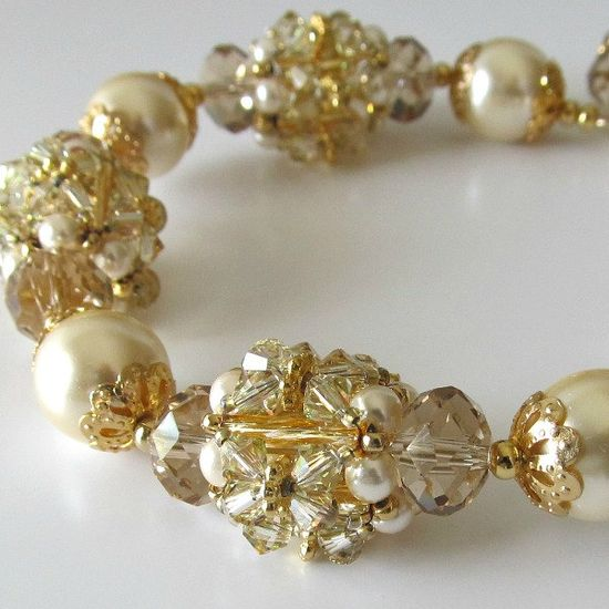 Beaded bead bracelet, cream glass pearls, swarovski crystals, 14k gold filled clasp, beaded jewelry,Sparkling Champagne. $85.00, via Etsy.