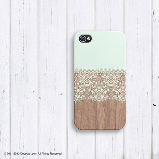 Mint Floral iPhone 4 case, iPhone 5s case, iPhone 5 case, mint wood beige boho S633