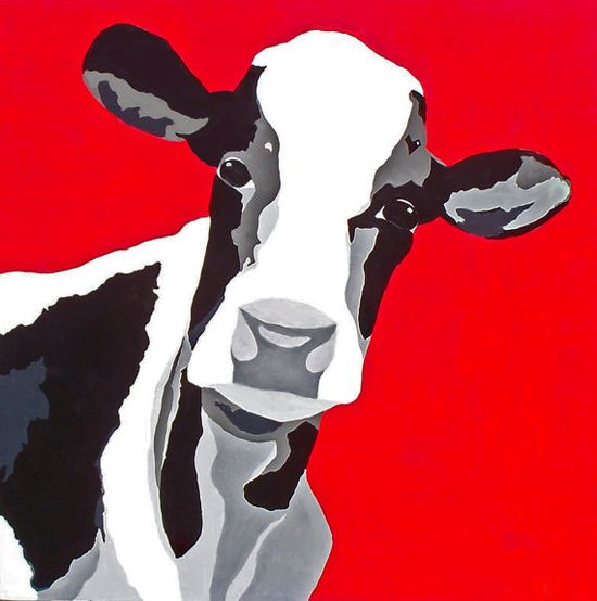 """Original Pop Art Painting w/ Free Gift  """"Rosie on Red"""" by DistinctiveArt68"""