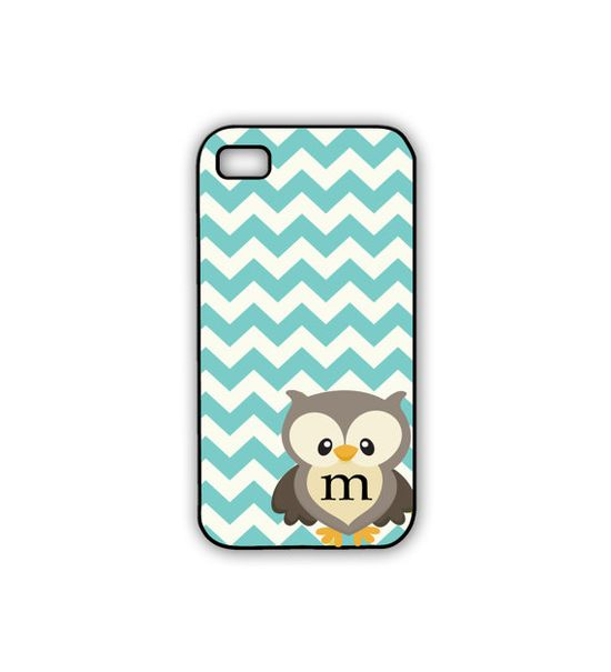 Owl iPhone Case Chevron Rubber iPhone Case in Turquoise with Monogram - Personalized Owl Phone Case