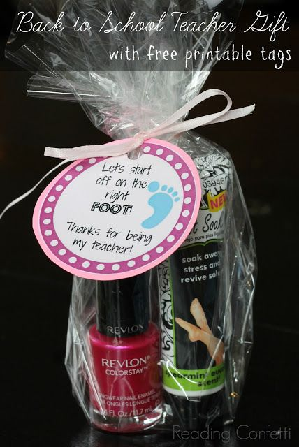Nail polish and foot lotion make a great back to school gift for teachers when paired with one of three different printable tags.