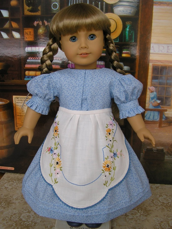 American Girl Kirsten dress and apron made from vintage embroidered linen, version two. $89.00, via Etsy.