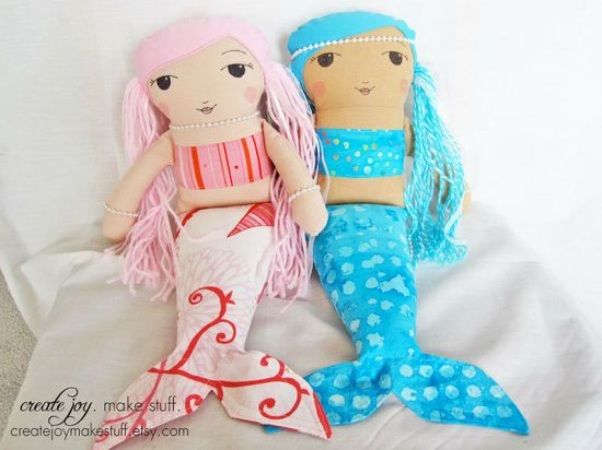 Mermaid Doll Sewing Pattern - PDF printable - Tutorial, cloth, digital, simple, easy, plush, plushie, softie, stuffed, soft, toy. $10.00, via Etsy.