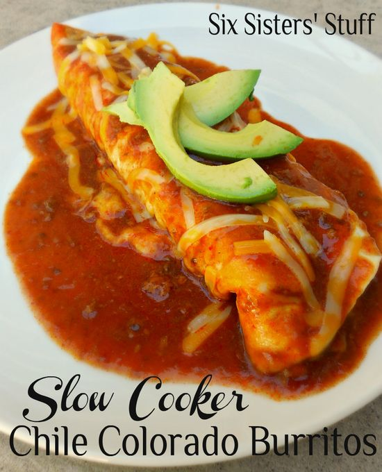 Slow Cooker Chile Colorado Burritos from sixsistersstuff.com.  These burritos are so simple to make and are packed with flavor! #recipes #slowcooker