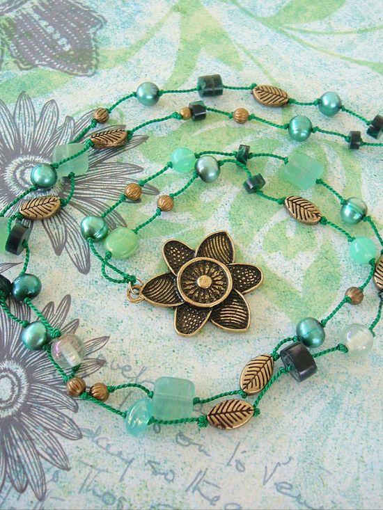 Boho Necklace, Bohemian Jewelry, Awakened Heart, Lotus Flower, Hand Knotted, Yoga
