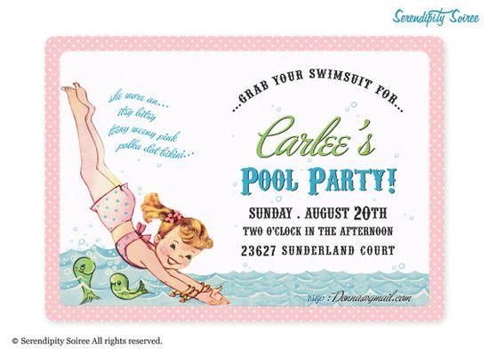 Vintage Pool Party Custom Printable by serendipitysoiree