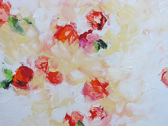 Abstract Art Floral Painting Original Impressionist Flowers Surreal Roses Acrylic Painting on Canvas by Linda Monfort. $350.00, via Etsy.