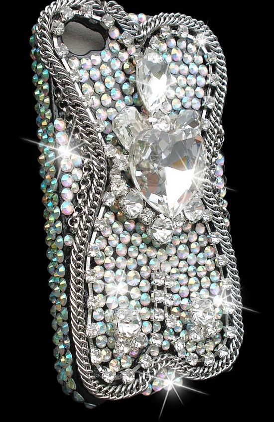 RockStar Silver Czech crystals Bling Case by JaggedGlamourCases,
