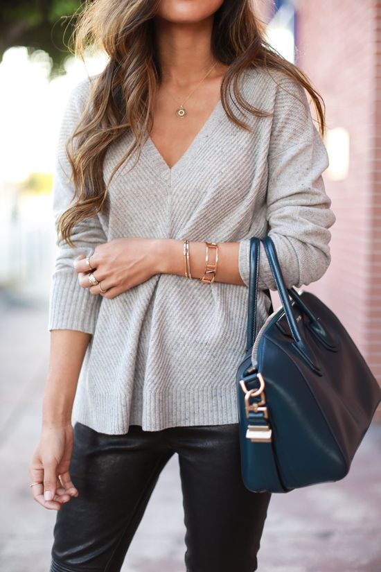 lightweight sweater + leather pants