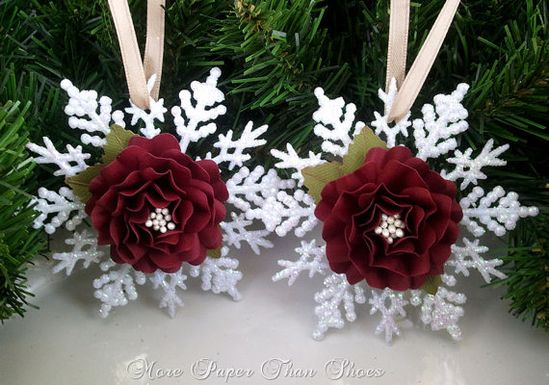 Snowflake Ornament  Handmade Paper Flower  Tree by MPTSHomeGrown, $9.00