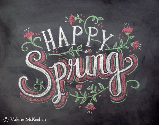 Happy Spring  Chalkboard Art