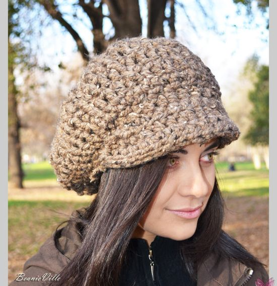 Newsboy Slouchy hat - BARLEY TWEED - womens teen girls - accessories - wool woolen on Etsy, $34.95