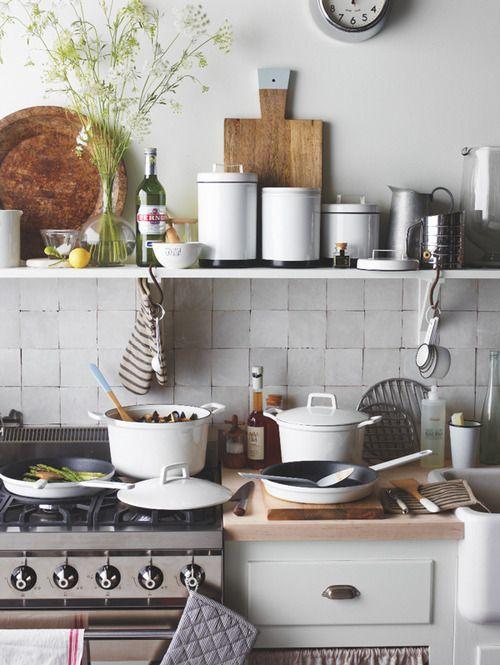 white, grey, birch kitchen
