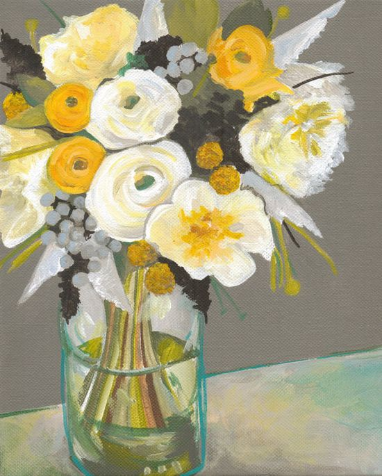 """Original Floral Still Life Painting / 10 x 8"""" / """"Yellow Meets Gray"""" / OOAK Acrylic on Canvas Painting / Yellow, Gray, Teal. $75.00, via Etsy."""