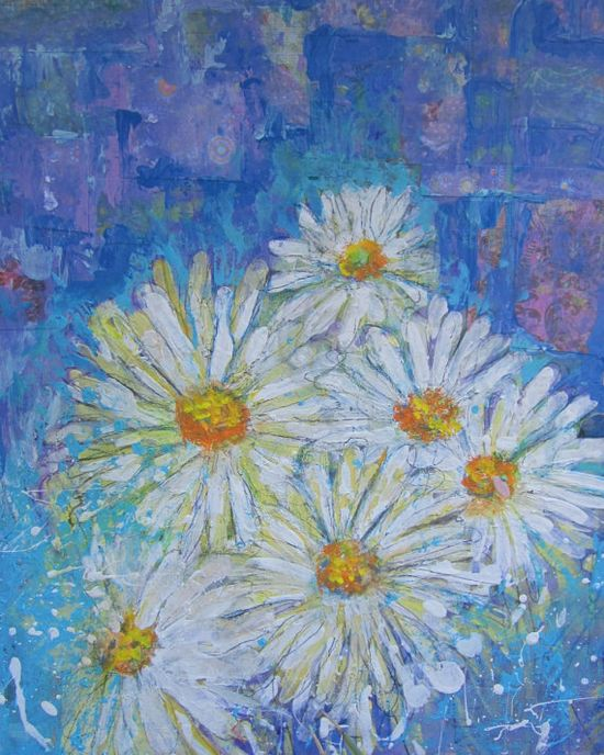 8x10 print of an original mixed media painting white Daisies on a blue background bohemian. $18.00, via Etsy.