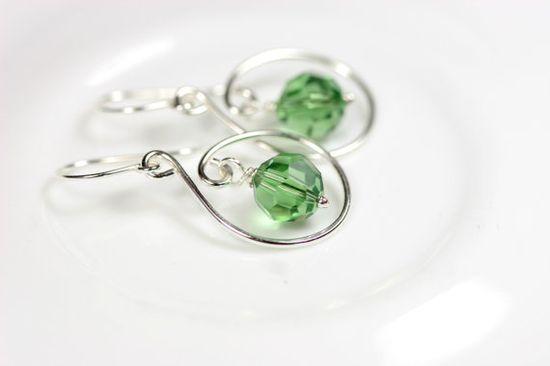 Green Swarovski Earrings Wire Wrapped Jewelry by JessicaLuuJewelry, $28.00