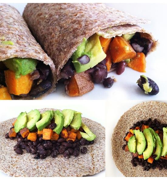 vegan: roasted sweet potato, black bean, avocado burrito...