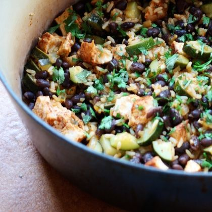 Mexican Rice Casserole - a one-pot healthy dinner... sub shrimp or skip meat altogether