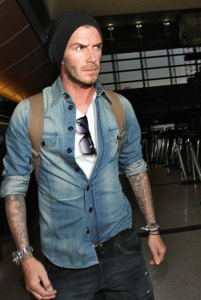 Casual Becks in a chambray shirt