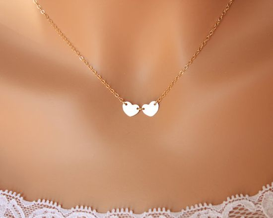 14K gold hearts necklace - initial necklace, two heart engraved necklace, Valentine gift , romantic birthday gift, mothers day gifts
