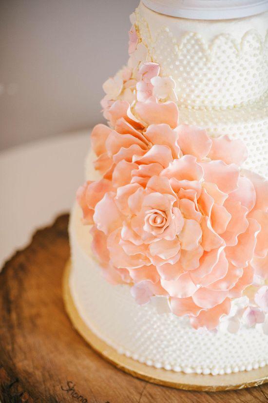peach flower wedding cake
