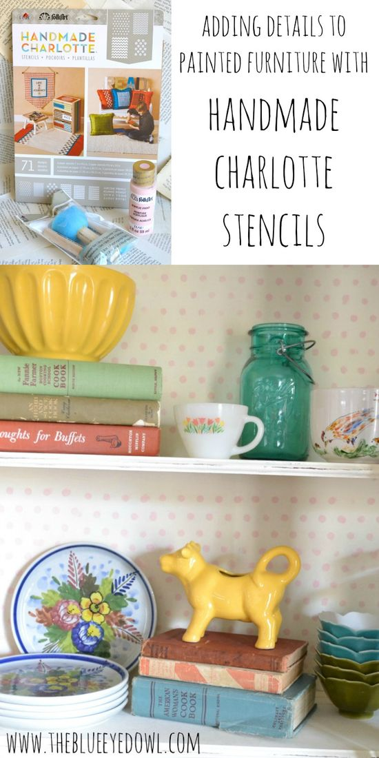adding details to painted furniture w/ plaid stencils