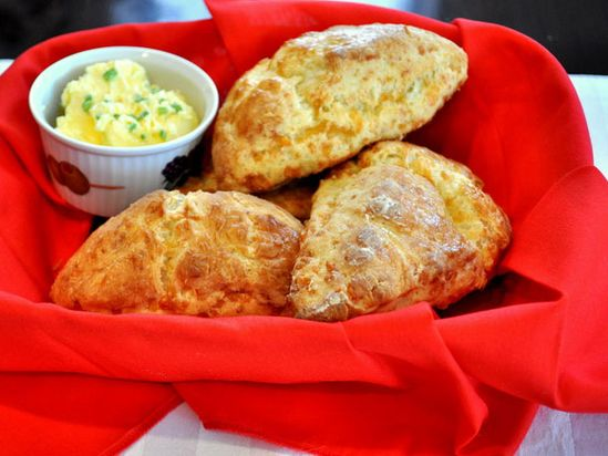 // cheddar scones with chive butter
