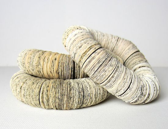 snake bracelet  made of Book pages by PaperStatement