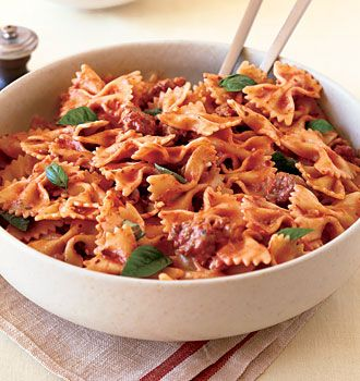 Farfalle with Sausage, Tomatoes, and Cream, a favorite.
