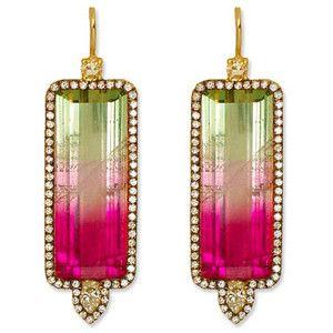 Jemma Wynne Watermelon Tourmaline, Diamond, and 18K Gold Earrings