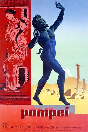 Vintage Pompei Italy Travel Posters Prints