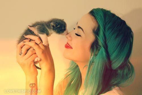 cute kiss girly animals hair