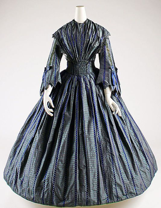 Dress, British, 1850  Note van dyked sleeves