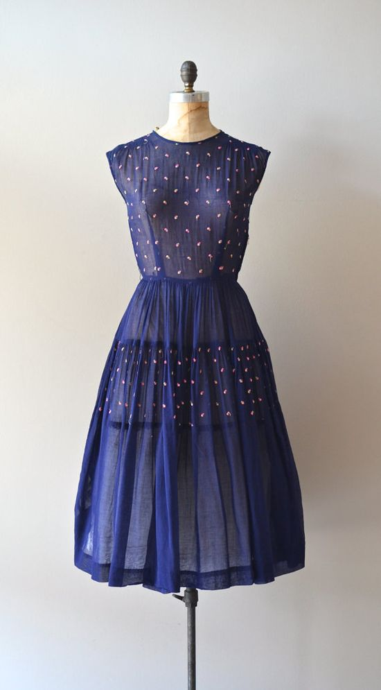 sleeveless 1950s dress / vintage 50s dress / Stroll by DearGolden, $154.00
