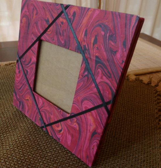 Handmade Marbled Paper Photo Frame - ECO-Upcycled-Green Products OOAK. $13.95, via Etsy.