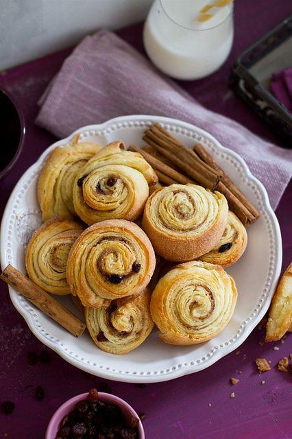 Crispy, fragrant, completely lovely looking Cinnamon and Raisin Swirls. #cinnamon #raisin #swirls #buns #rolls #pastry #food #dessert