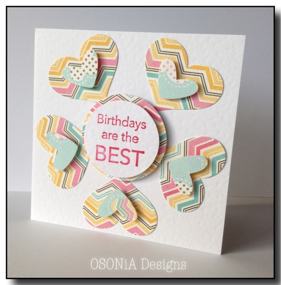 Circle of hearts handmade birthday card by OSONiA Designs