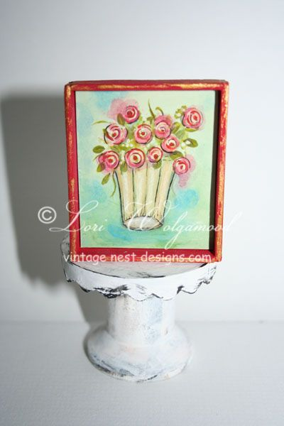 Vase No.4 Red Roses Framed Miniature Print for Doll House - Vintage Nest Designs, Creative Handmade and Hand Painted Designs
