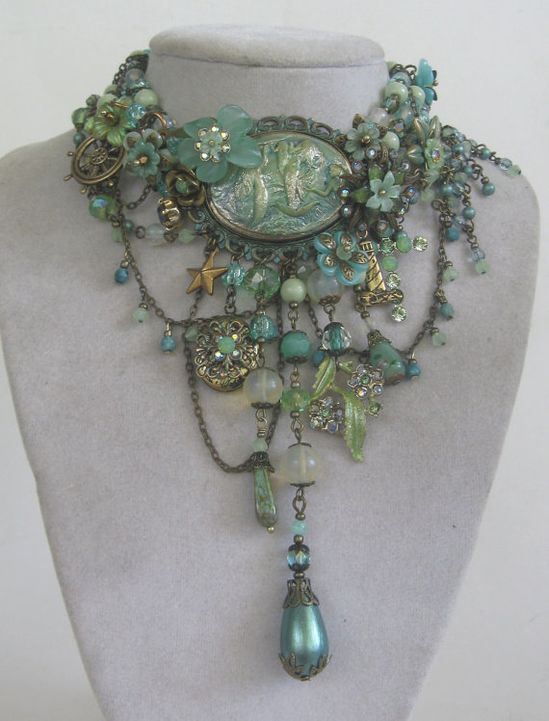 Love the soft seafoam colors and delicate chain  MERMIST - Explosive Signed MERMAID statement set in Mint and Seafoam with Hidden Locket OOAK  by JeanieSchlegel  Jeanie Schlegel Merrick: Jewellery Artist
