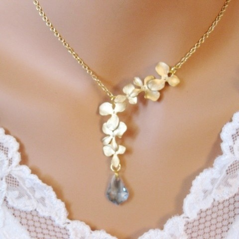 Gold orchid necklace $36.99 #aquamarine #march #gold