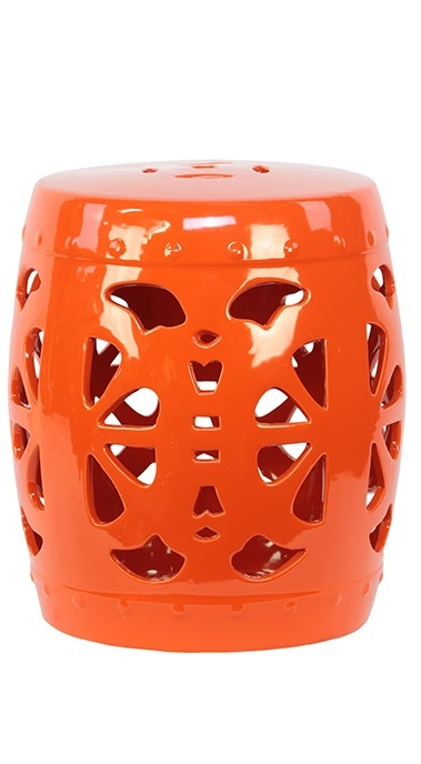 Garden Stools / Side Tables in Tangerine Orange, so beautiful, one of over 3,000 limited production interior design inspirations inc, furniture, lighting, mirrors, tabletop accents and gift ideas to enjoy repin and share at InStyle Decor Beverly Hills Hollywood Luxury Home Decor enjoy & happy pinning