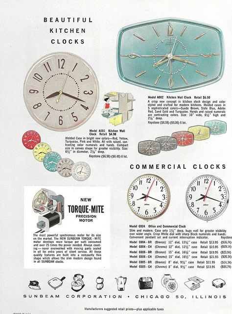 1950s ad for Sunbeam clocks (love the hexagon shaped one!). #vintage #1950s #clocks #kitchen