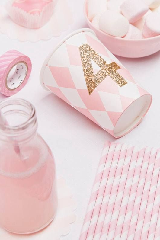 decorate party cups with glitter tape