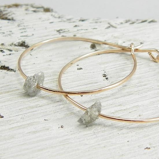 earrings, raw diamonds ~ pointnopointstudio