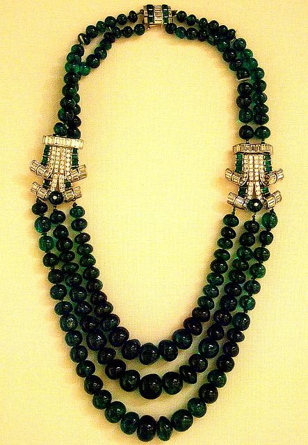 Emerald and diamond necklace  British Museum  #Cartier London, 1920's-30's